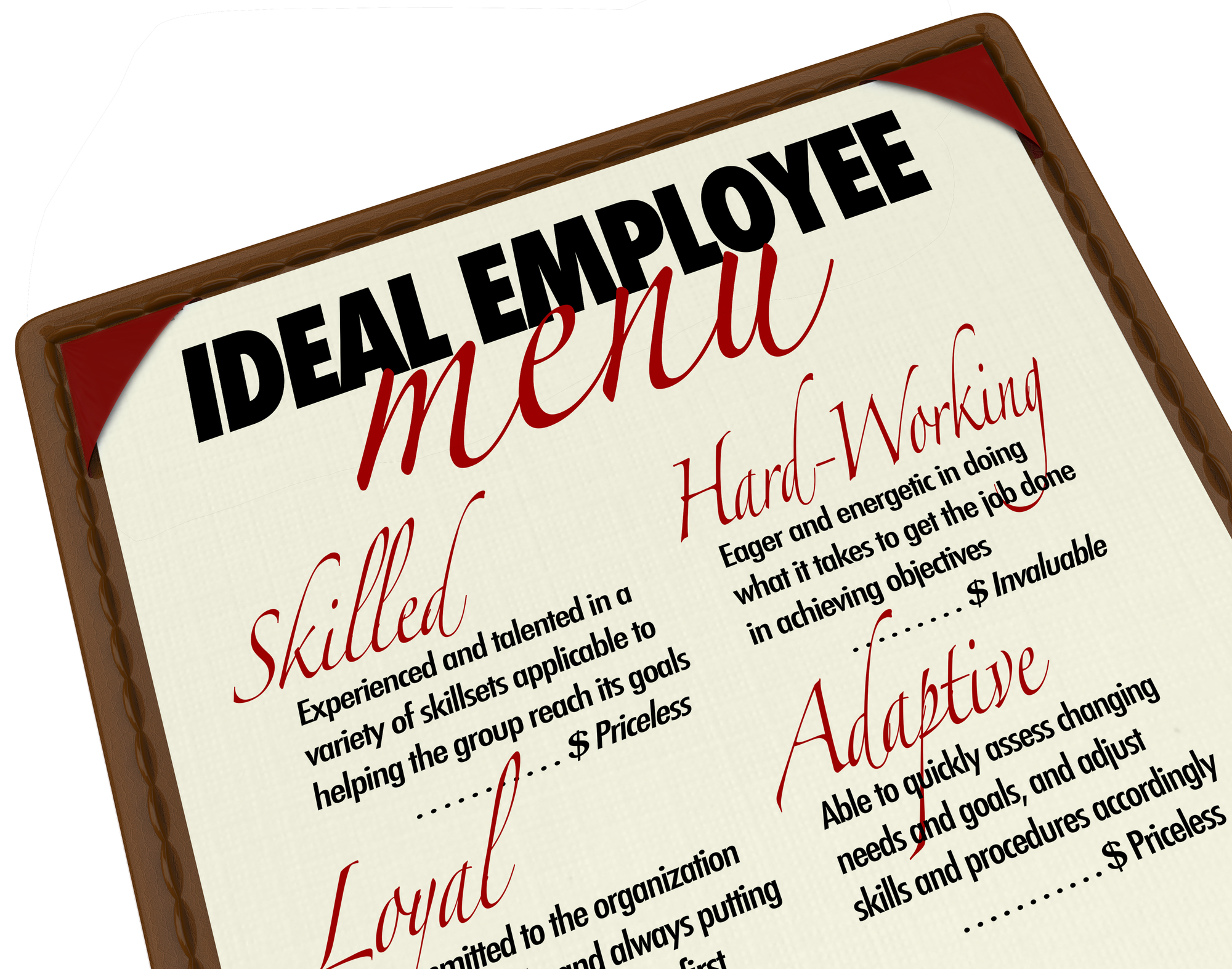 """A leatherbound menu reading """"Ideal Employee Menu"""" with items listed as """"Skilled,"""" """"Hard-working,"""" """"loyal,"""" and """"adaptive."""""""